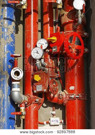 Red Metallic Pipes