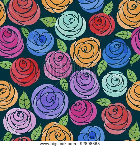 Seamless pattern with watercolor cute roses