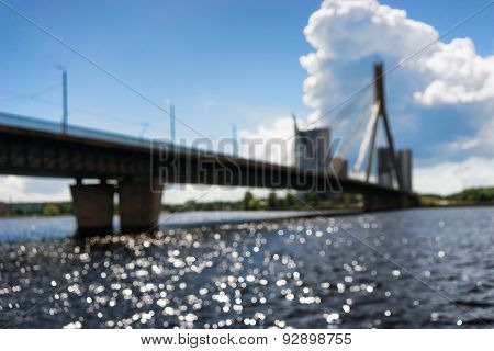 Cable-stayed Bridge Across The Daugava River In Riga On A Sunny Day