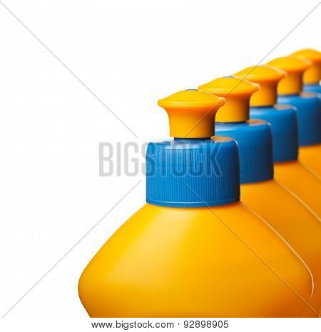 Closeup Of House Cleaning Bottles