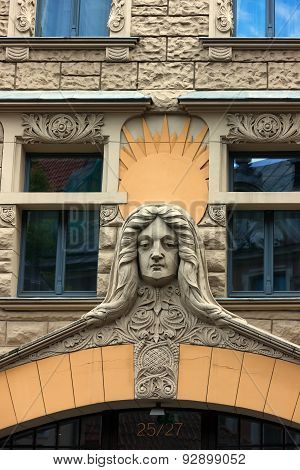 Famous Stucco Facades In The Old Town Of Riga