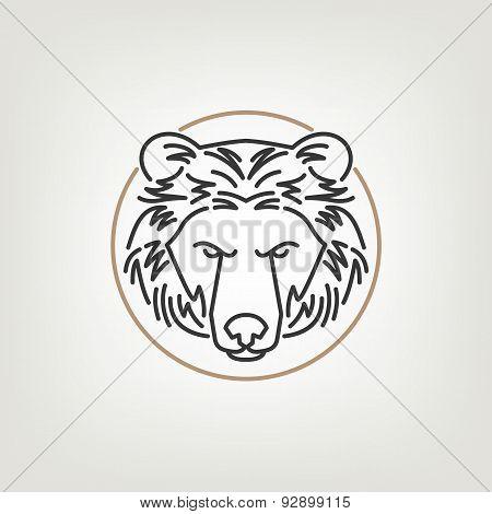 The Bear Head Outline Logo Icon Design.