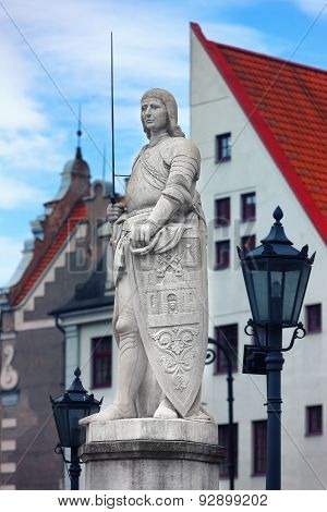 Sculpture Of Roland In The Town Hall Square In Riga