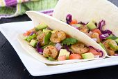 image of cilantro  - High resolution two spicy shrimp taco with avocado - JPG