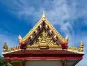 image of gable-roof  - Temple gable beautiful design blue sky background - JPG