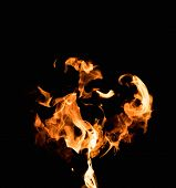 stock photo of flame  - Burning flame on black background - JPG
