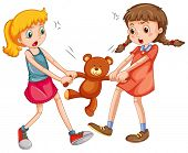 image of snatch  - Two girls fighting for a teddy bear - JPG