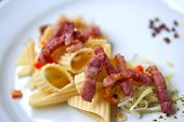 image of leek  - Close up of pasta bacon leeks and carrots on a plate  - JPG