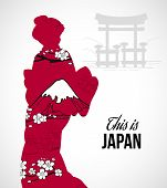 picture of geisha  - Geisha silhouette with sakura flowers and mountains poster vector illustration - JPG