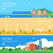 picture of wind-farm  - Colorful vector flat banner set - JPG