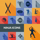foto of ninja  - Ninja icons black long shadow set with traditional east weapon isolated vector illustration - JPG