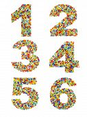picture of beads  - Numbers 1 through 6 made from colorful glass beads on a white background - JPG