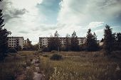 image of abandoned house  - An abandoned town with a lot of apartment houses - JPG
