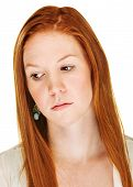 picture of sulky  - Isolated sad Caucasian adult woman looking down - JPG