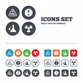 stock photo of carbon-dioxide  - Attention and radiation icons - JPG