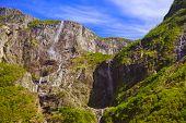 image of fjord  - Waterfall in Fjord Sognefjord Norway  - JPG