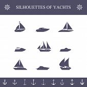 pic of passenger ship  - Ship sailing yachts and cruise boats silhouette icons set isolated vector illustration - JPG