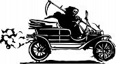 stock photo of grim-reaper  - Woodcut style expressionist image of the grim reaper death driving a vintage car - JPG