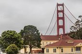 foto of gate  - View of the Golden Gate from the Fort Baker area in Sausalito norht of the Golden Gate and San Francsico CA - JPG