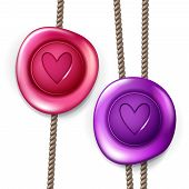 foto of wax seal  - Wax seal set with ropes vector isolated design element with heart sign - JPG