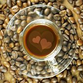 picture of coffee crop  - Cup of Coffee Backgrounds with Coffee Beans on Wood - JPG