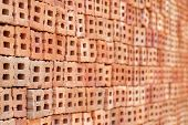 picture of brick block  - Brick blocks stacked to be used for construction