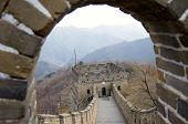 stock photo of mongol  - The great wall of china outside of beijing in winter - JPG