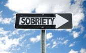 image of sobriety  - Sobriety direction sign with sky background - JPG