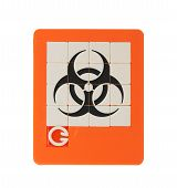 picture of biohazard symbol  - Old puzzle slide game isolated on white  - JPG