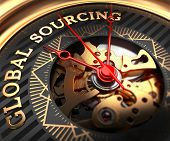 stock photo of watch  - Global Sourcing on Black - JPG