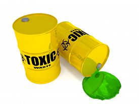 stock photo of toxic substance  - Two yellow drums containing the text toxic waste - JPG
