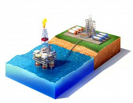 picture of gas-pipes  - 3d illustration of cross section of sea with oil and gas platform in the gulf or the sea transporting gas or oil on land station - JPG