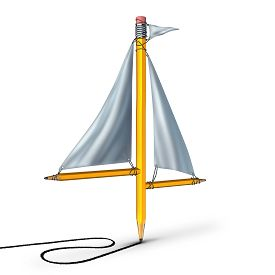 stock photo of sails  - Sailing creativity metaphor as a group of pencils shaped as a boat sail representing the idea of adapting following the current trend and changing direction according to the winds of change - JPG