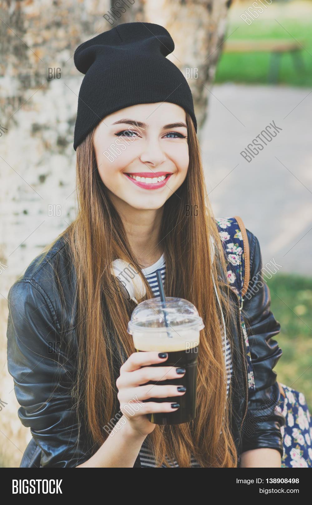 Cool Teenage Girl Drinking Coffee Image Photo Bigstock