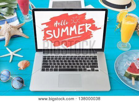 Summer Starfish Laptop Vacation Concept