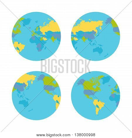 Planet Earth vector illustration from four sides. World Globe circular sequence with political map . Countries silhouettes on planet surface. Global world concept. Isolated on white background.