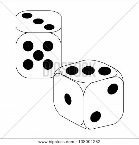 Black and White Dice With Three Roll