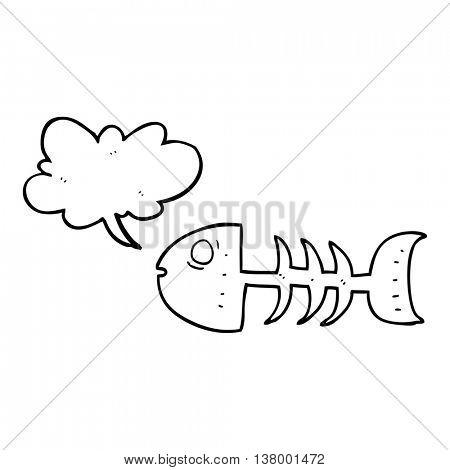freehand drawn speech bubble cartoon fish bones