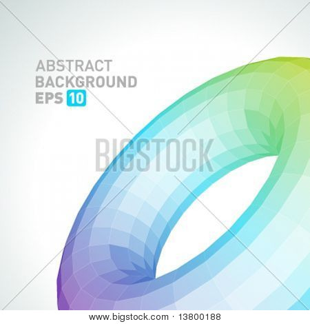 Abstract 3d origami polygonal torus vector background
