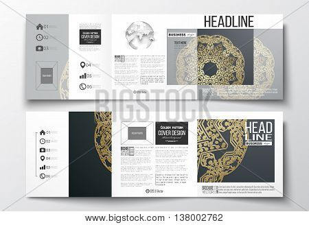 Set of tri-fold brochures, square design templates with element of world globe. Golden microchip pattern on dark background, mandala template with connecting dots and lines.