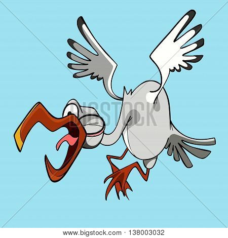 funny cartoon stork flying bird with open beak and shouts