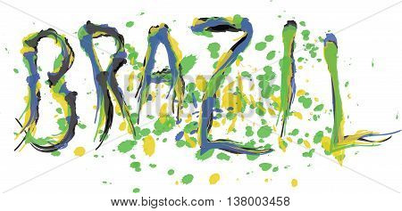 Brasil logo with national flag colors hand drawn style. Digital vector image.