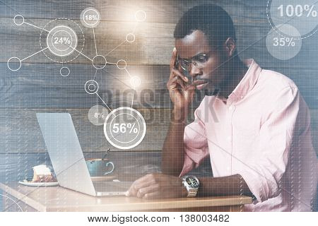Young African It Expert Looking Puzzled, Having A Computer Problem, Sitting In Deep Thinking Pose, T