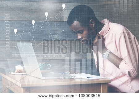 Visual Effects. Double Exposure Of Young Worrying African Freelancer At A Cafe, Sitting In Front Of