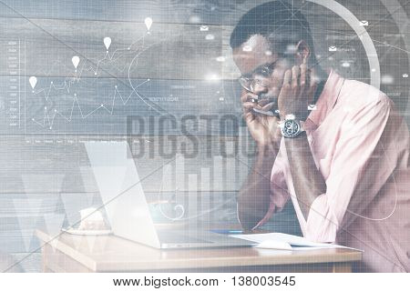 Visual Effects. Double Exposure Of African American Businessman Dressed In Formal Suit, Making Phone