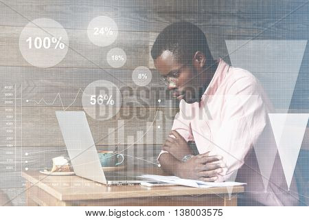 Graphic Icons, Double Exposure. Young African American Accounting Clerk Making An Annual Financial R