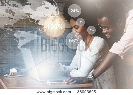 Worldwide Connection Interface. Double Exposure Of Happy African Couple Using High-speed Internet On