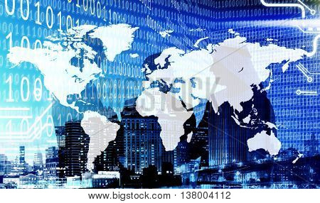 Binary Code Cartograpgy Business People Concept