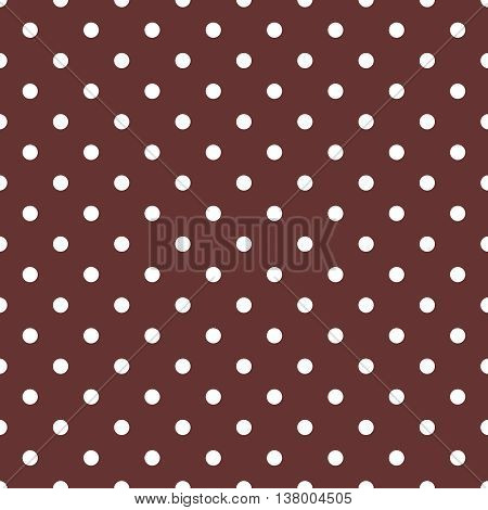 Tile vector pattern with white polka dots on tile brown background