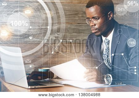 Business And Achievement Concept. Double Exposure Of Dark-skinned Entrepreneur Making Plans And Sett